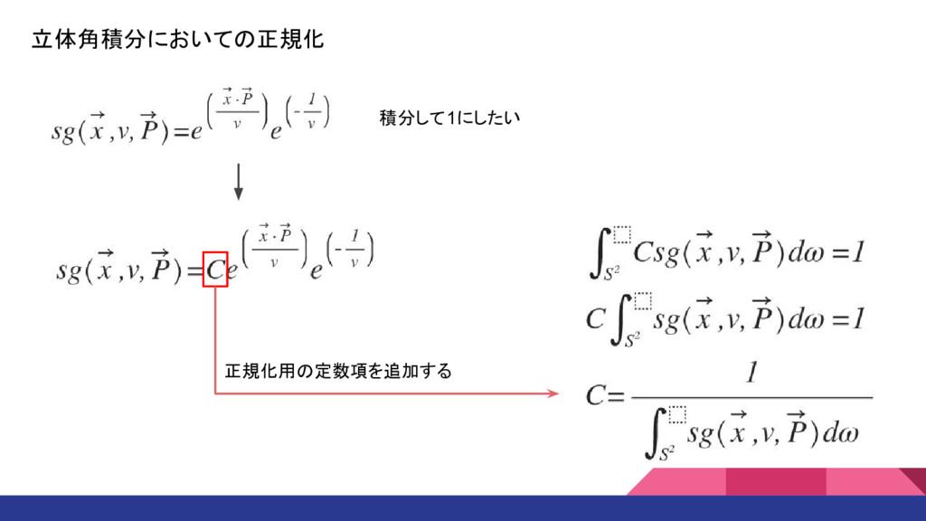 立体角積分においての正規化 積分して1にしたい 正規化用の定数項を追加する
