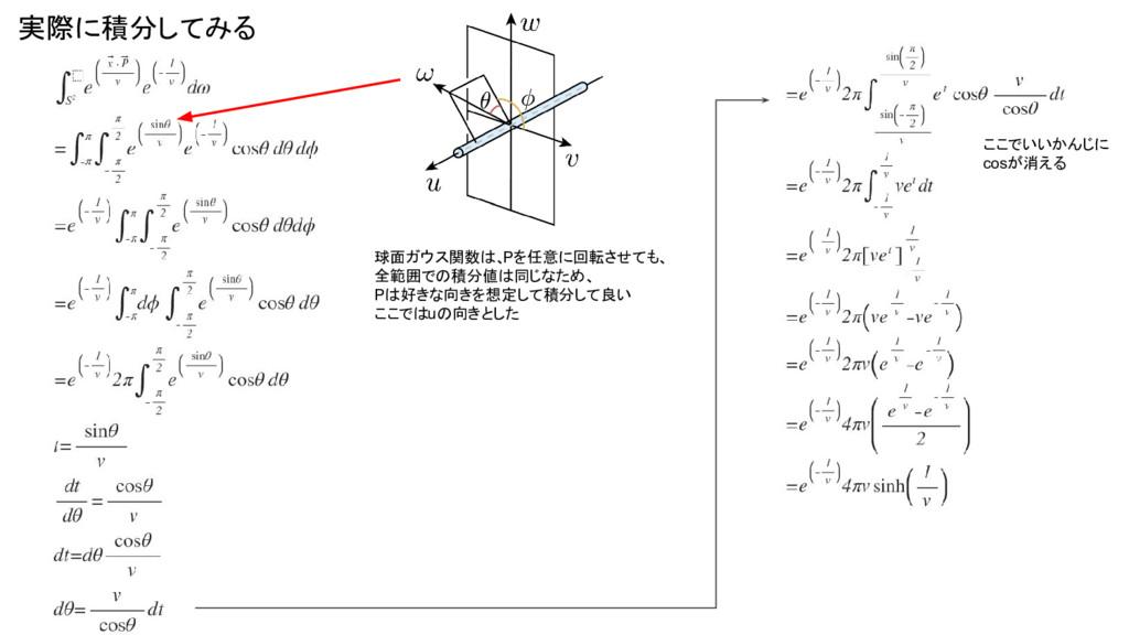実際に積分してみる 球面ガウス関数は、 Pを任意に回転させても、 全範囲での積分値は同じなため...