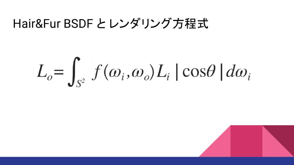 Hair&Fur BSDF と レンダリング方程式