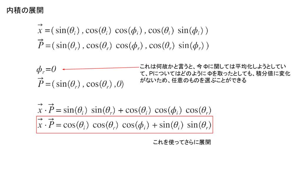 内積の展開 これを使ってさらに展開 これは何故かと言うと、今 Φに関しては平均化しようとしてい...