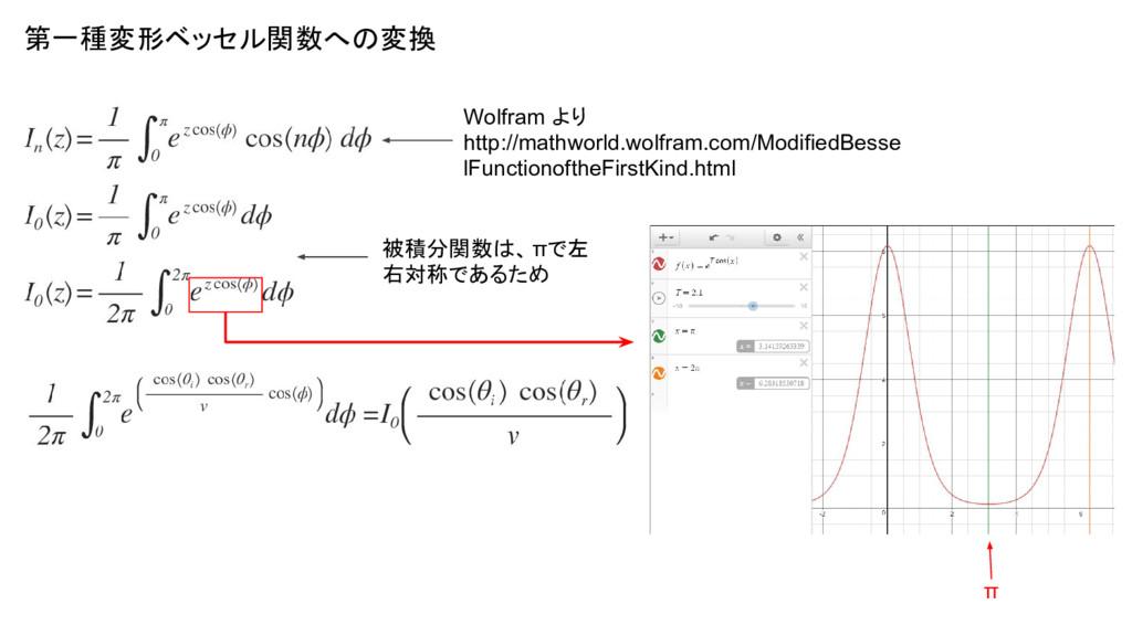 第一種変形ベッセル関数への変換 Wolfram より http://mathworld.wol...