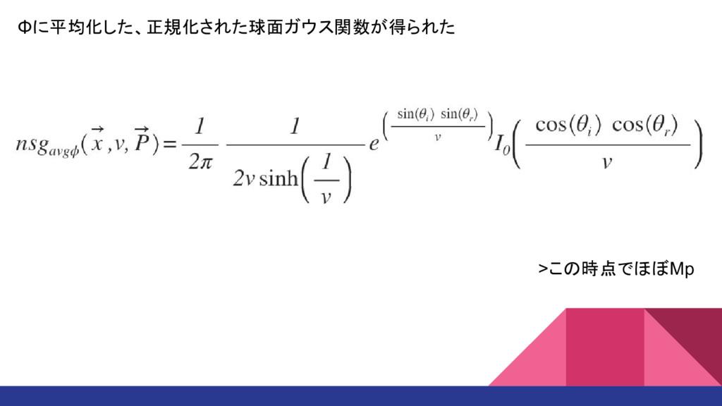 Φに平均化した、正規化された球面ガウス関数が得られた >この時点でほぼMp