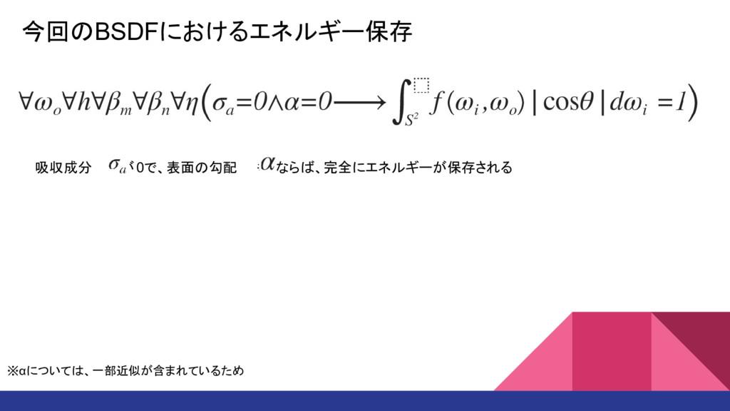 今回のBSDFにおけるエネルギー保存 吸収成分   が0で、表面の勾配  も0ならば、完全にエ...