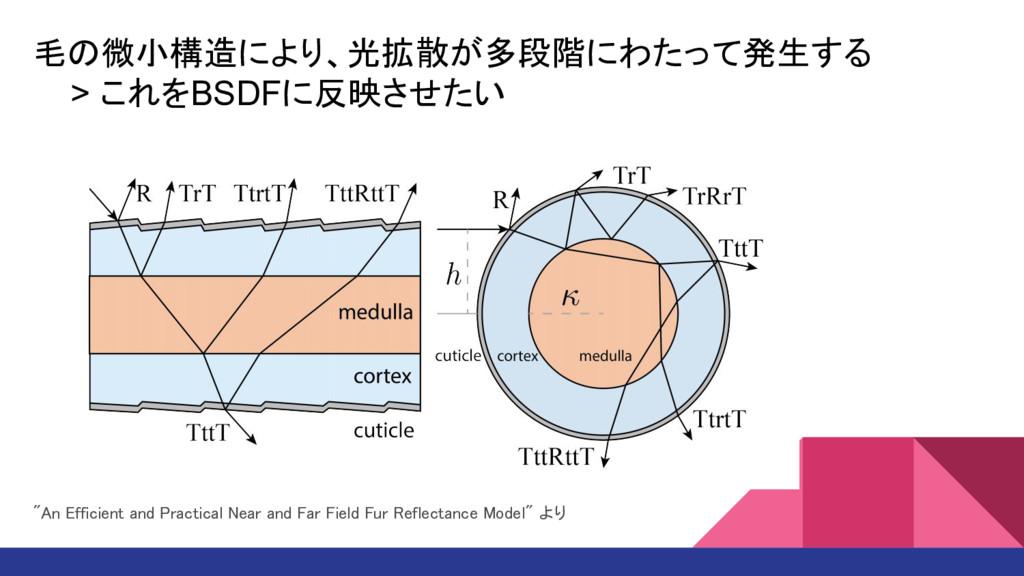 """毛の微小構造により、光拡散が多段階にわたって発生する > これをBSDFに反映させたい """"An..."""
