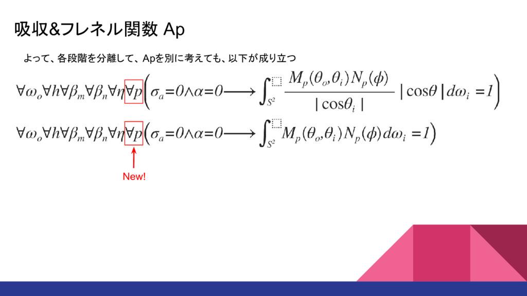 吸収&フレネル関数 Ap よって、各段階を分離して、 Apを別に考えても、以下が成り立つ Ne...