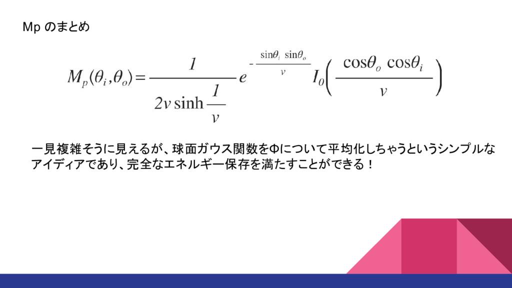 Mp のまとめ 一見複雑そうに見えるが、球面ガウス関数をΦについて平均化しちゃうというシンプル...