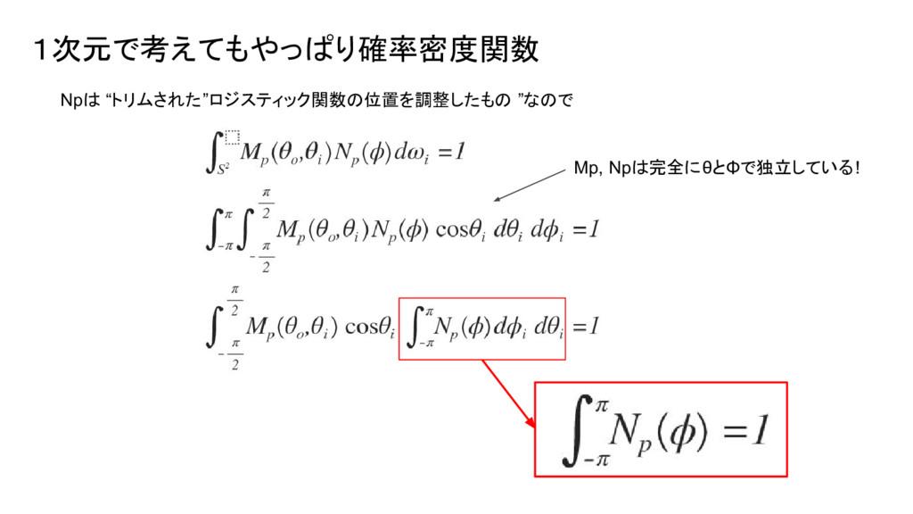 """1次元で考えてもやっぱり確率密度関数 Npは """"トリムされた""""ロジスティック関数の位置を調整し..."""