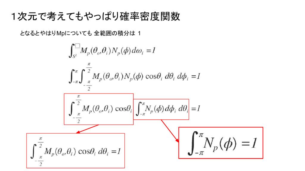 1次元で考えてもやっぱり確率密度関数 となるとやはりMpについても 全範囲の積分は 1