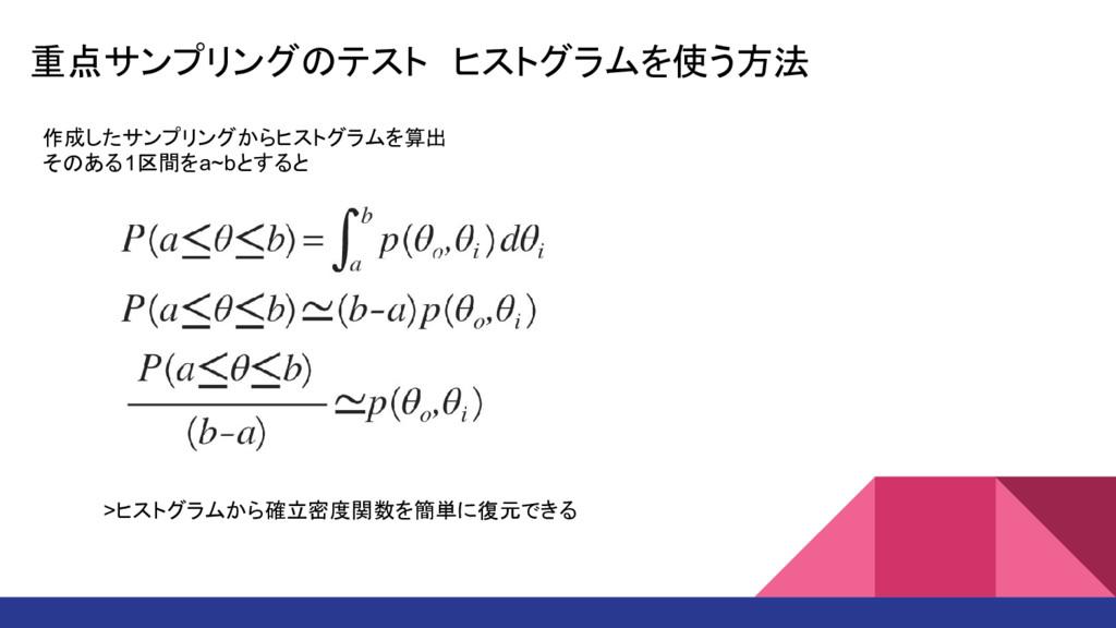 重点サンプリングのテスト ヒストグラムを使う方法 作成したサンプリングからヒストグラムを算出 ...