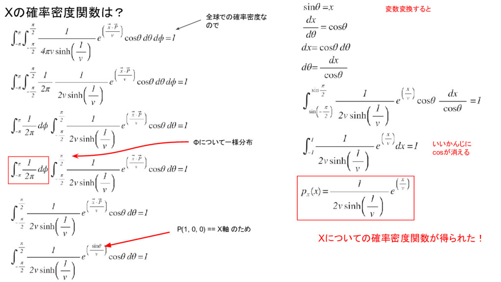 Xの確率密度関数は? Φについて一様分布 全球での確率密度な ので P(1, 0, 0) ==...