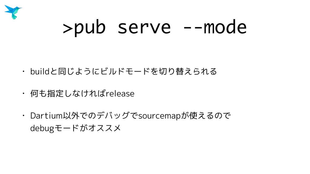 >pub serve --mode • buildと同じようにビルドモードを切り替えられる •...
