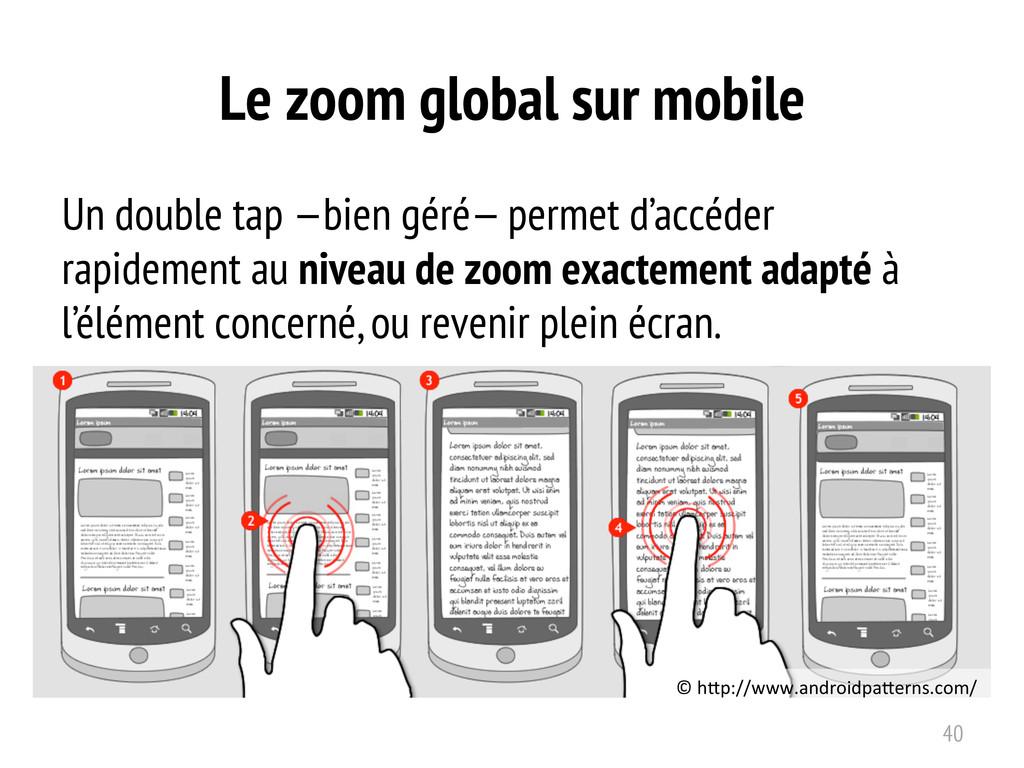 Le zoom global sur mobile Un double tap —bien g...