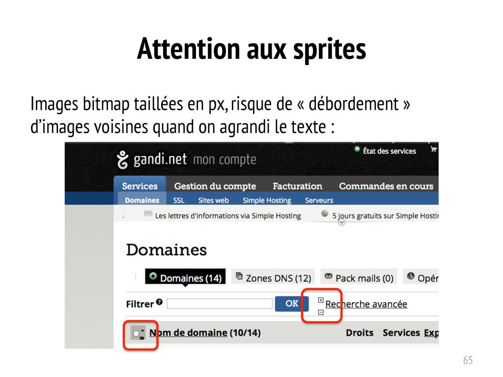Attention aux sprites Images bitmap taillées en...