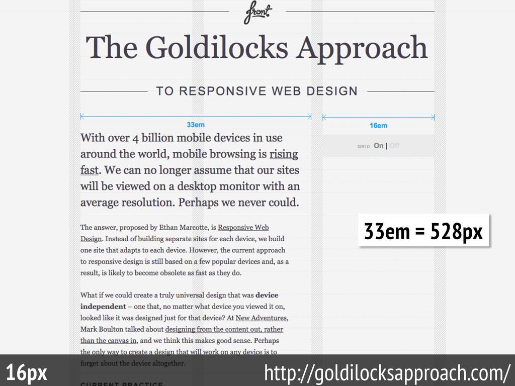 70 16px http://goldilocksapproach.com/ 33em = 5...
