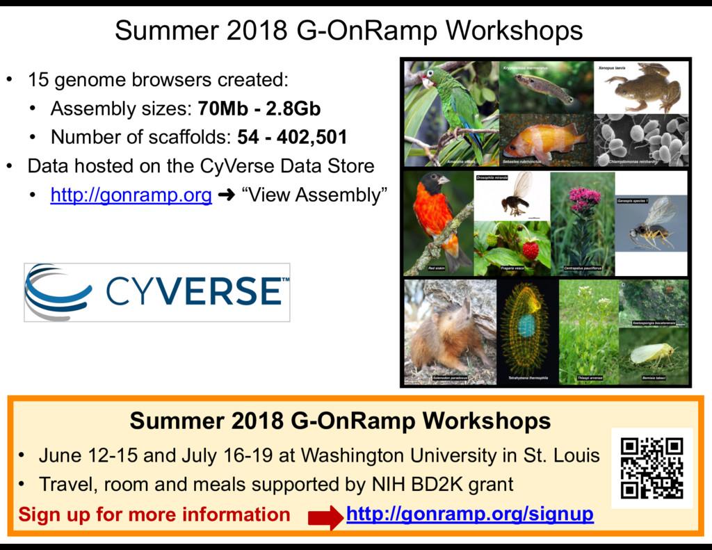 Summer 2018 G-OnRamp Workshops • 15 genome brow...