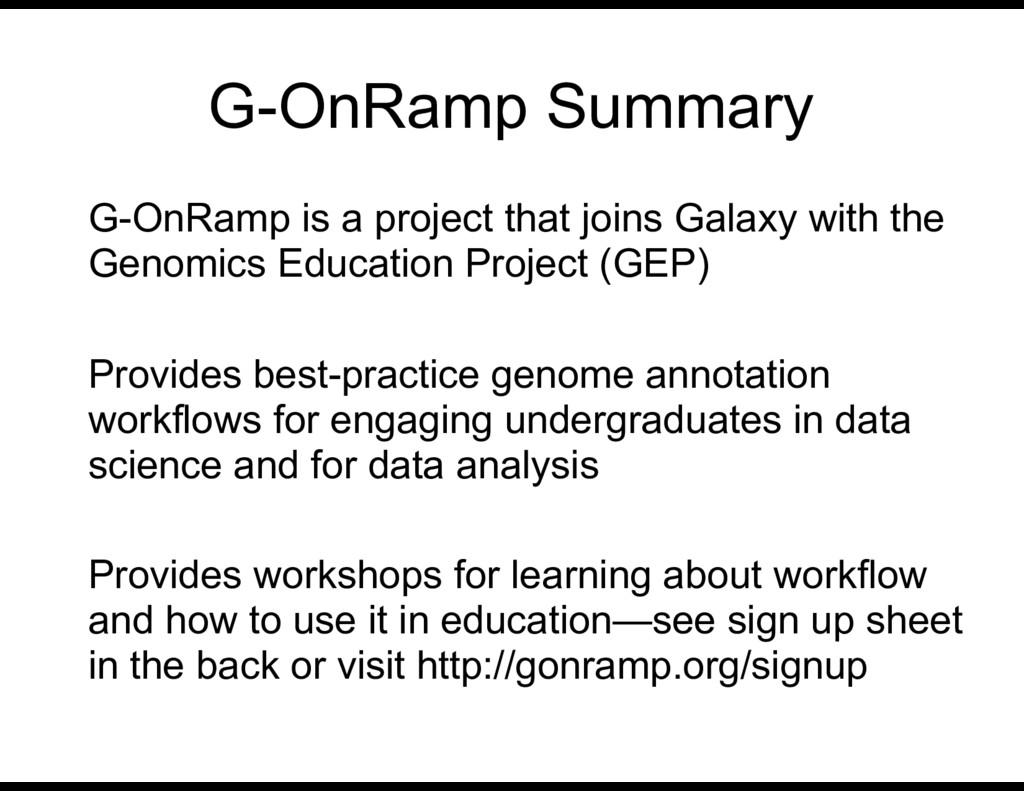 G-OnRamp Summary G-OnRamp is a project that joi...