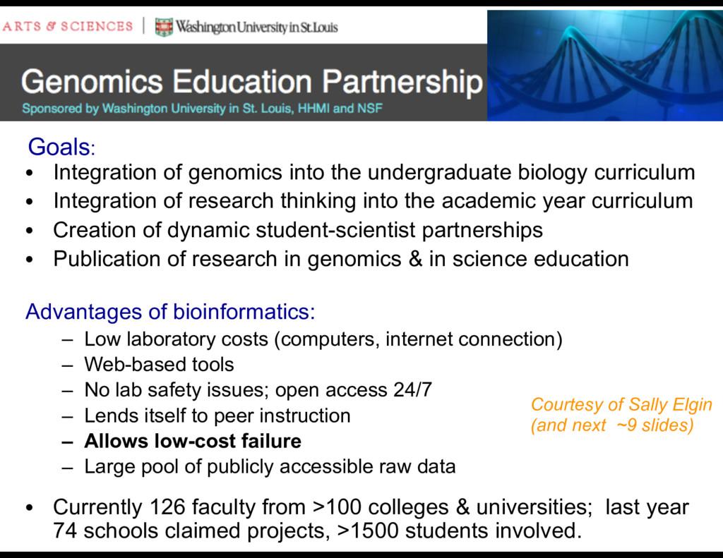 • Integration of genomics into the undergraduat...