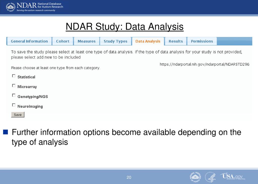 20 NDAR Study: Data Analysis  Further informat...