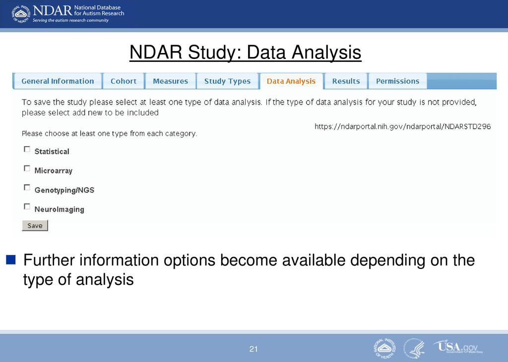 21 NDAR Study: Data Analysis  Further informat...