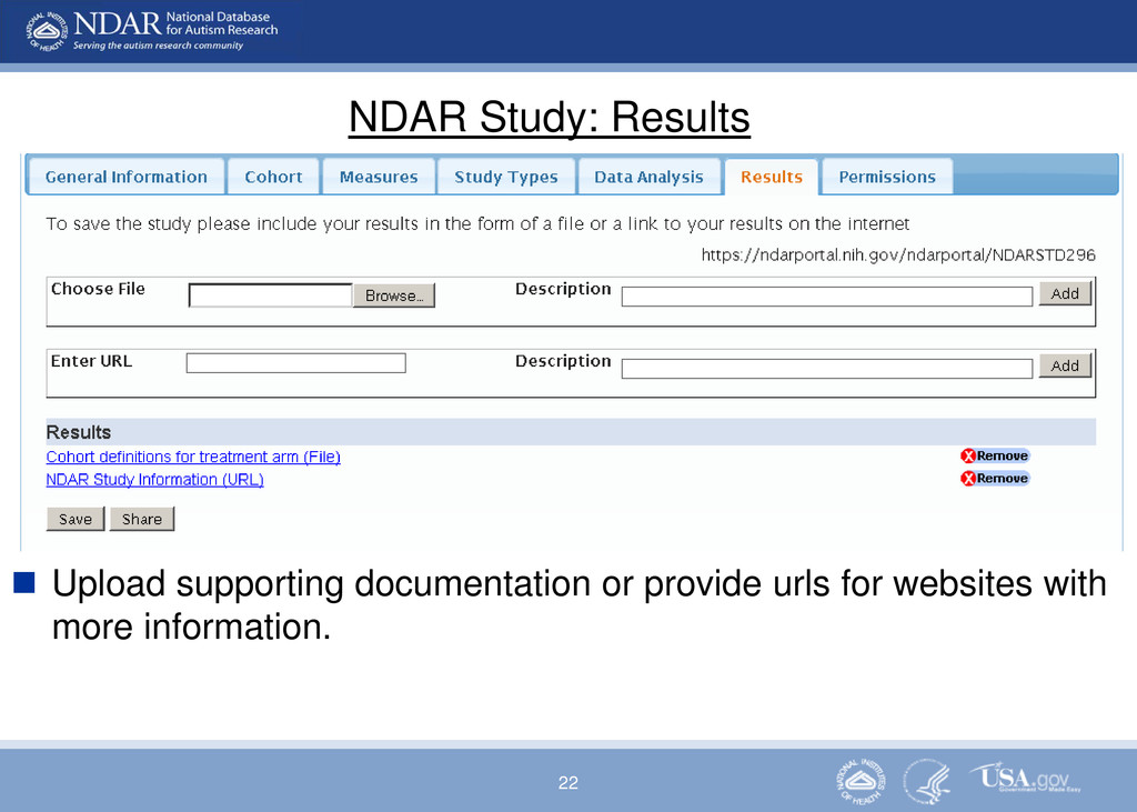 22 NDAR Study: Results  Upload supporting docu...