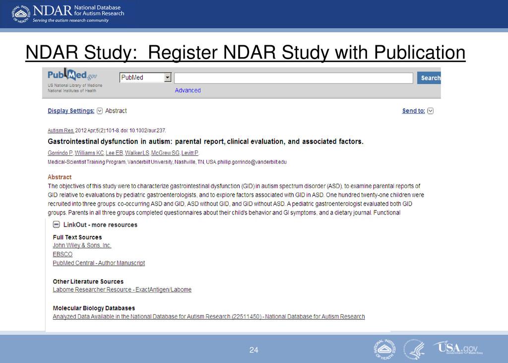 24 NDAR Study: Register NDAR Study with Publica...