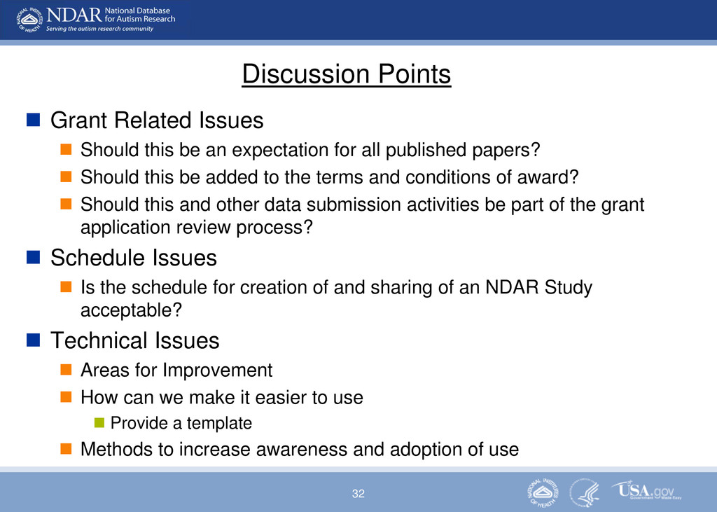 32 Discussion Points  Grant Related Issues  S...