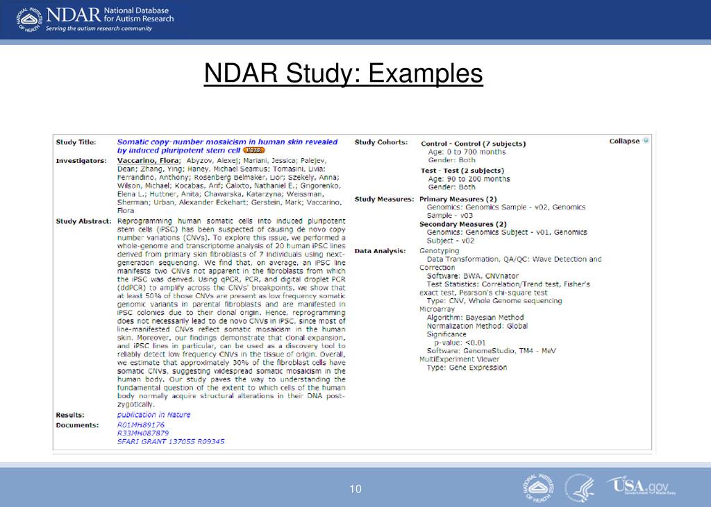 10 NDAR Study: Examples