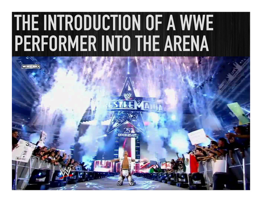 THE INTRODUCTION OF A WWE PERFORMER INTO THE AR...