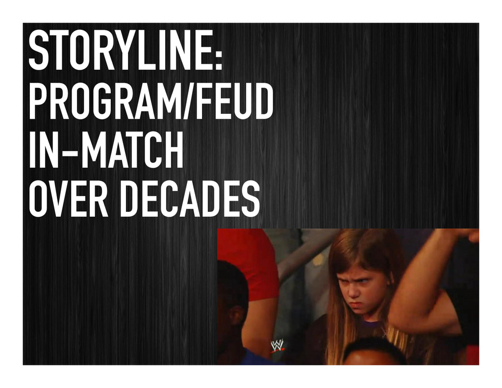 STORYLINE: PROGRAM/FEUD IN-MATCH OVER DECADES