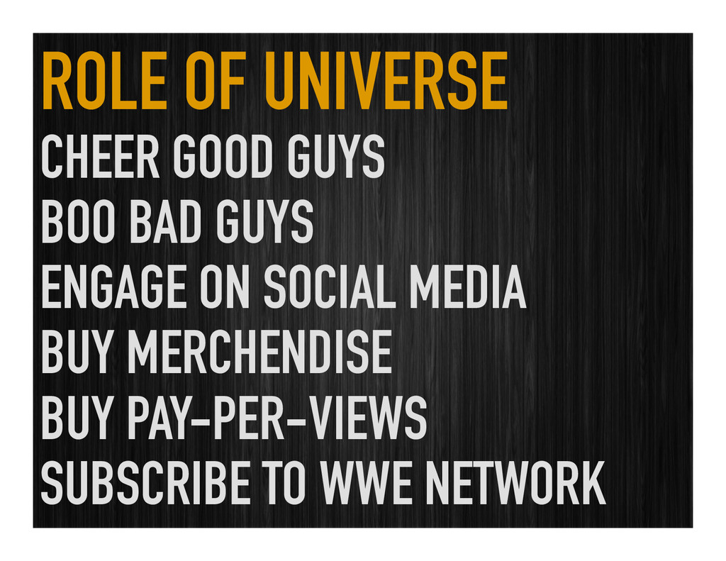 ROLE OF UNIVERSE CHEER GOOD GUYS BOO BAD GUYS E...