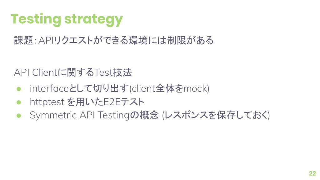 Testing strategy 課題:APIリクエストができる環境には制限がある API C...