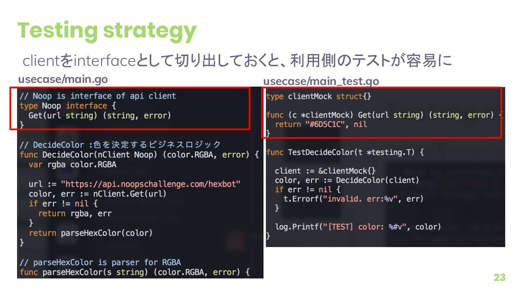 Testing strategy clientをinterfaceとして切り出しておくと、利用...