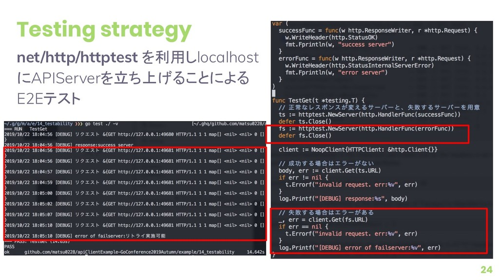 Testing strategy net/http/httptest を利用しlocalhos...