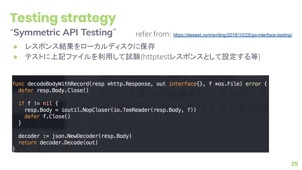 "Testing strategy ""Symmetric API Testing"" ● レスポン..."