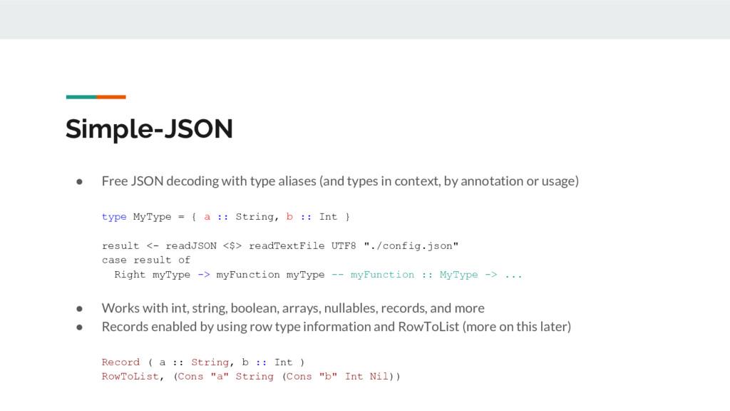 Simple-JSON ● Free JSON decoding with type alia...