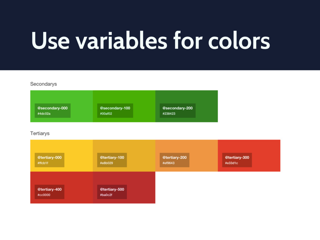 Use variables for colors