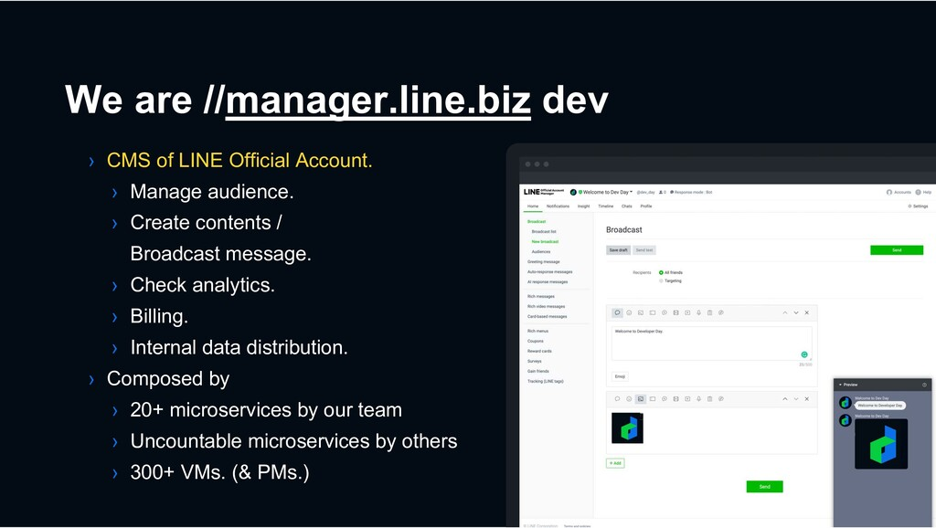 We are //manager.line.biz dev › CMS of LINE Off...