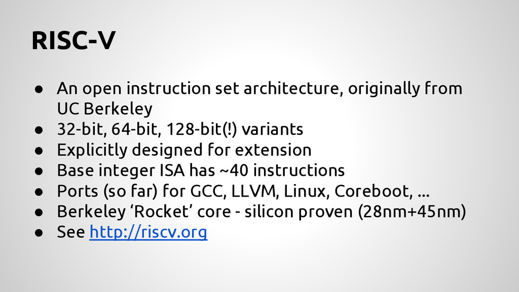 RISC-V ● An open instruction set architecture, ...