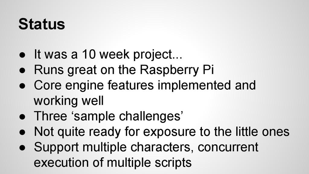 Status ● It was a 10 week project... ● Runs gre...