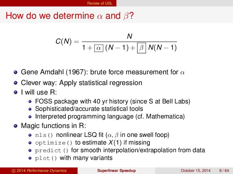 Review of USL How do we determine α and β? C(N)...