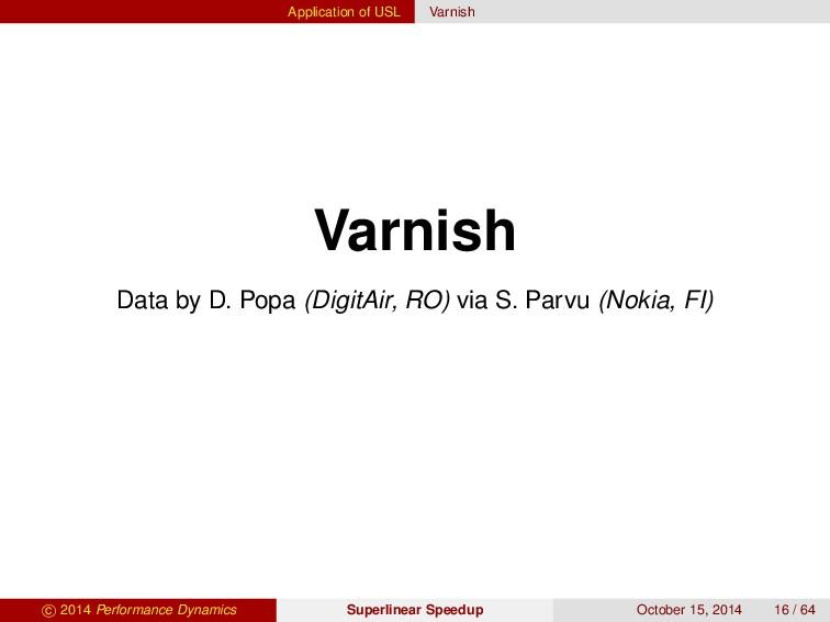 Application of USL Varnish Varnish Data by D. P...