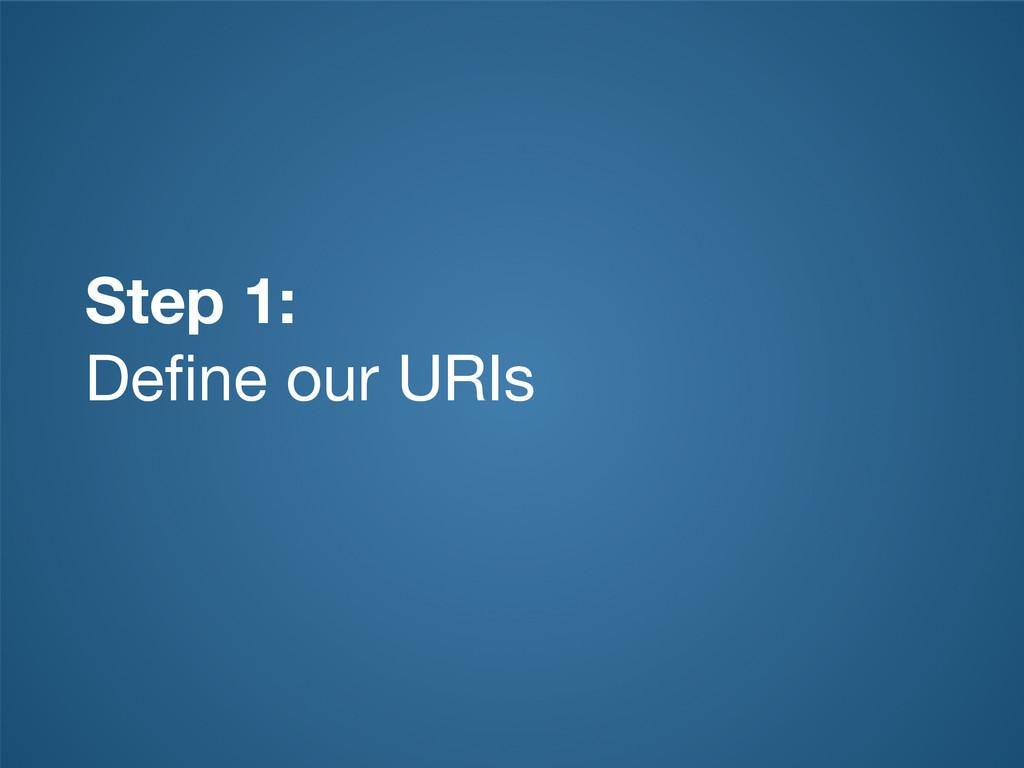 Step 1: Define our URIs