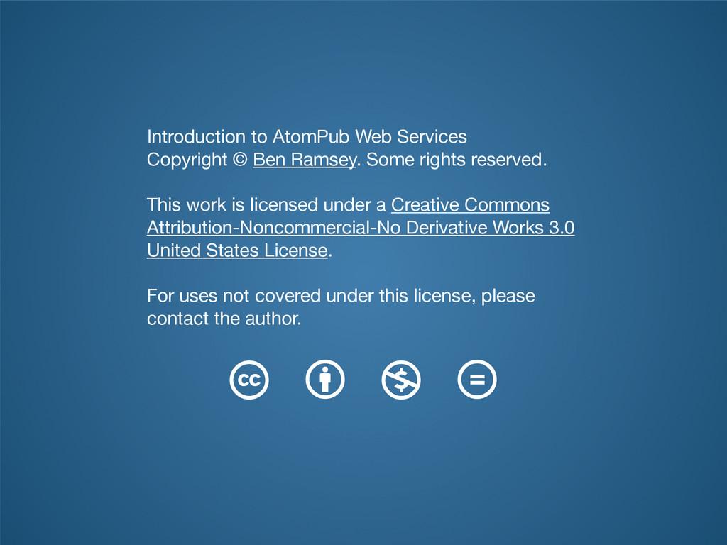 Introduction to AtomPub Web Services  Copyright...