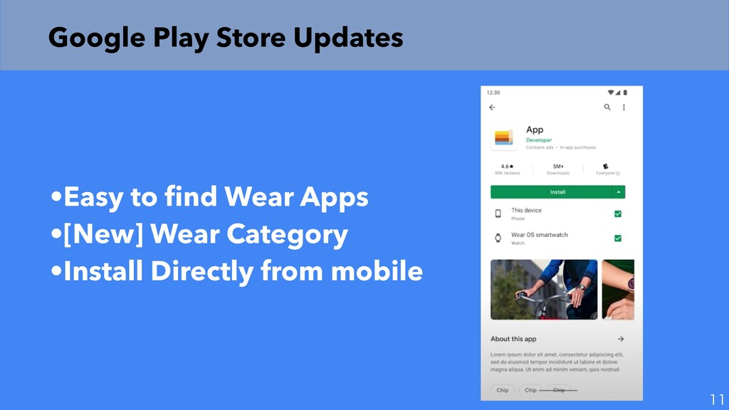 Google Play Store Updates •Easy to fi nd Wear A...