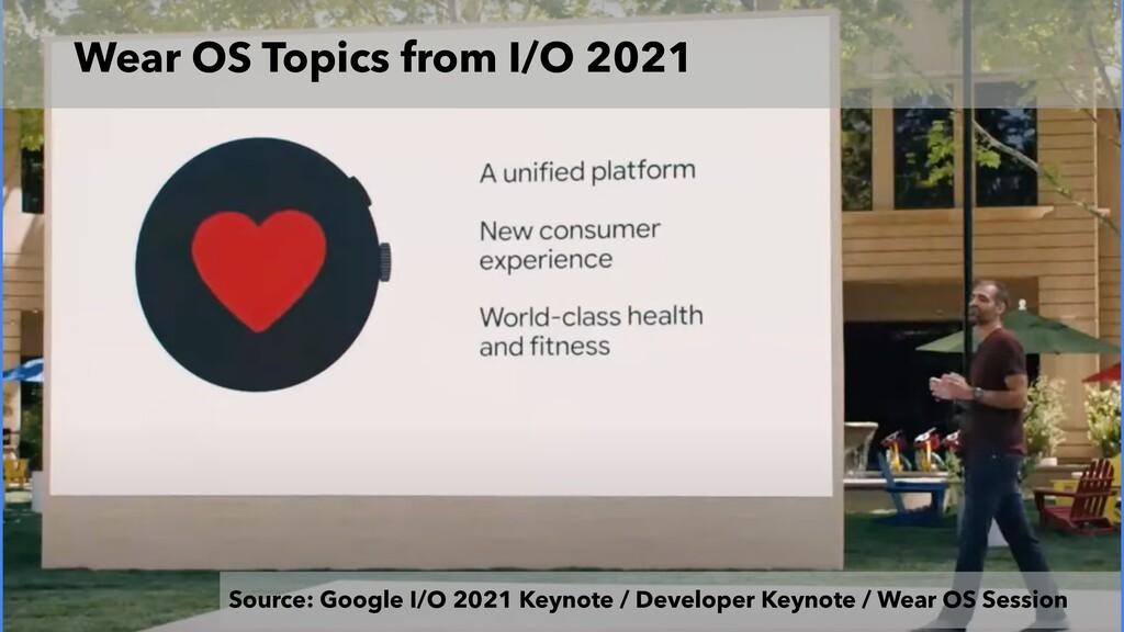 Wear OS Topics from I/O 2021 Source: Google I/O...