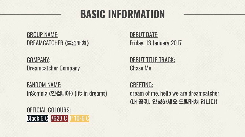 BASIC INFORMATION GROUP NAME: DREAMCATCHER (드림캐...