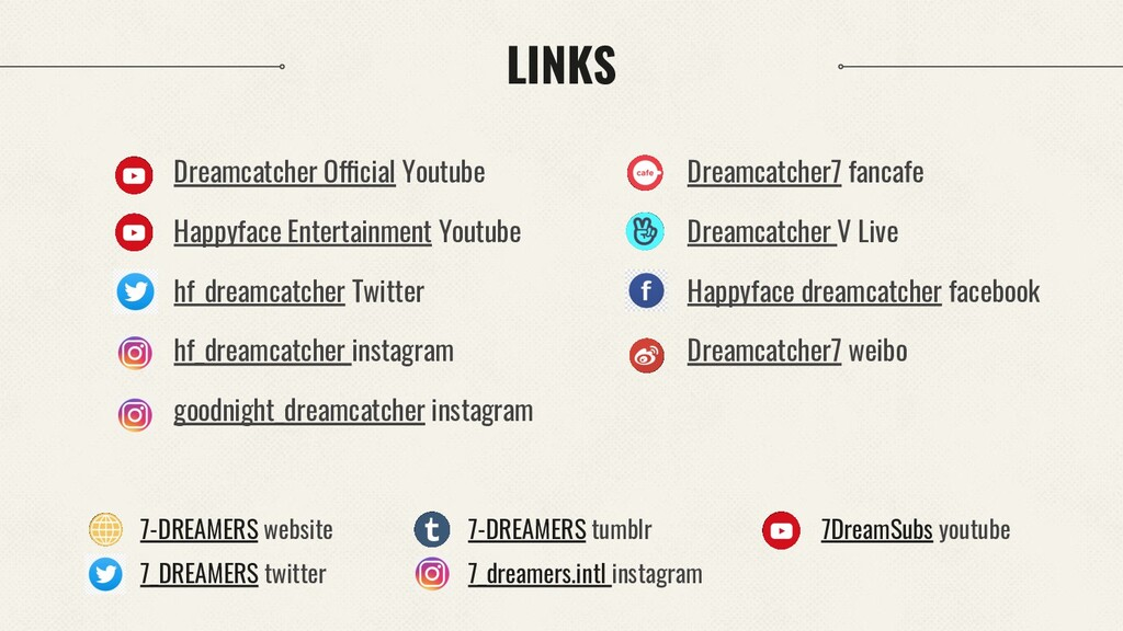LINKS Dreamcatcher Official Youtube Happyface E...