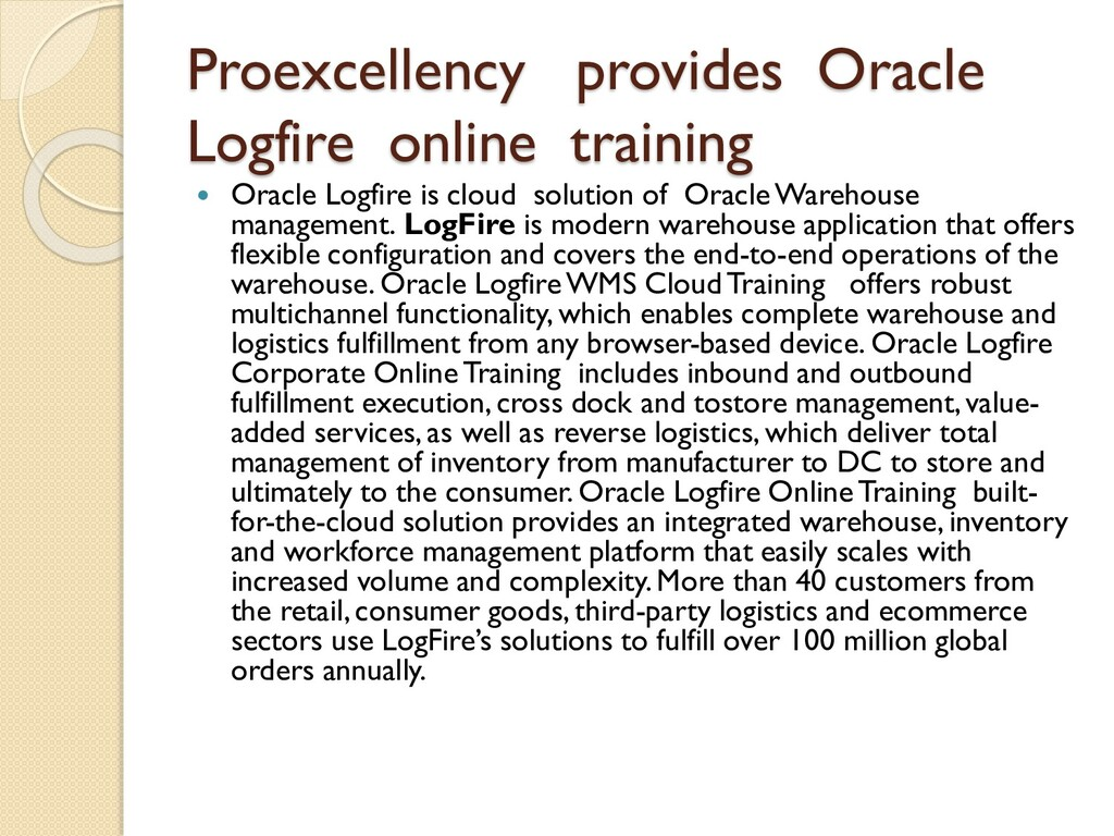 Proexcellency provides Oracle Logfire online tr...