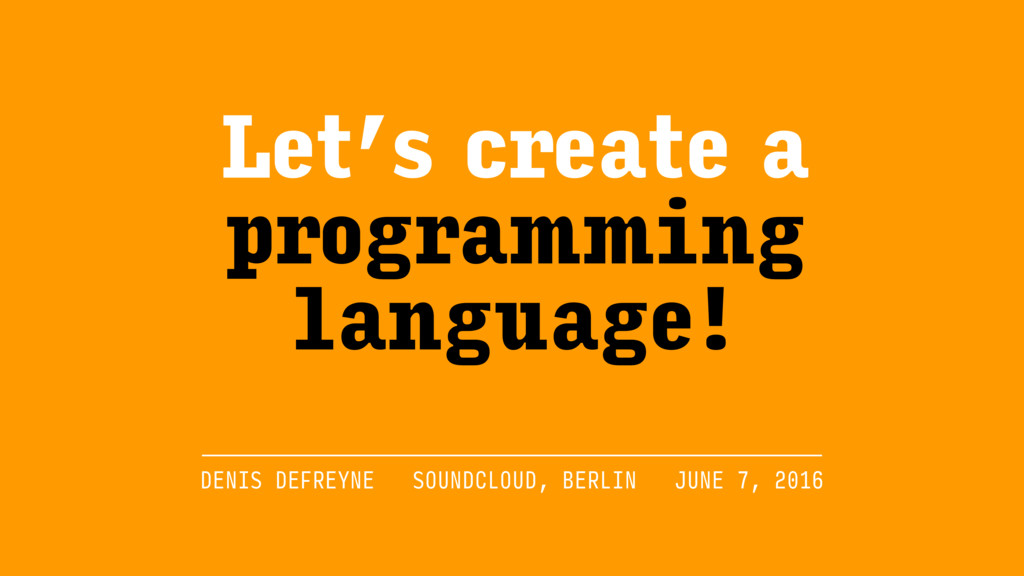 Let's create a programming