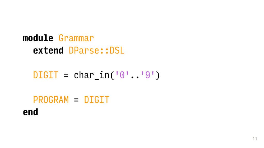 11 module Grammar extend DParse::DSL DIGIT = ch...